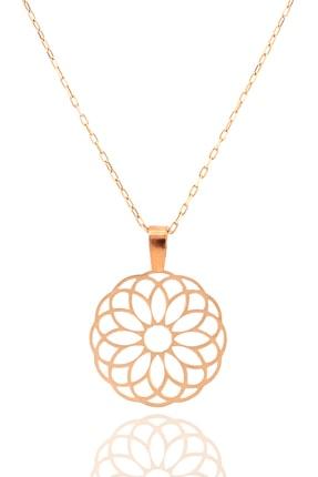 Midyat Gümüş Dünyası Yaşam Çiçeği Gümüş Kolye Rose Kaplama