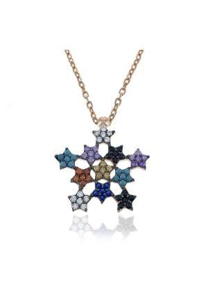 SilverPlus Kadın Rose Karışık Taşlı Gümüş Yıldız Kolye