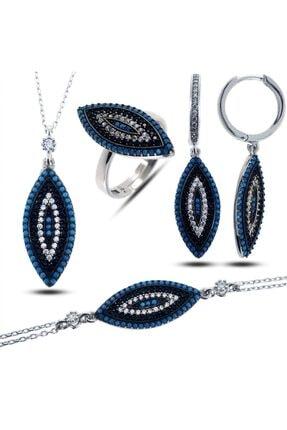 SilverPlus Kadın Mavi Zirkon Taşlı Rodyumlu Mekik Nazarlık Gümüş Takı Seti