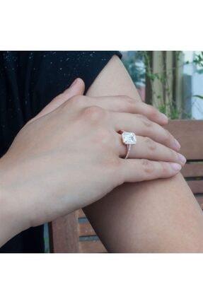 SilverPlus Kare Zirkon Taşlı Rose Gümüş Bayan Yüzük