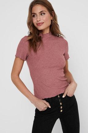 Only Kadın Kırmızı Onlemma Dik Yaka Fitilli T Shirt15224967