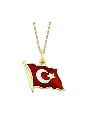 Altın Sepeti Türk Bayraklı Altın Kolye