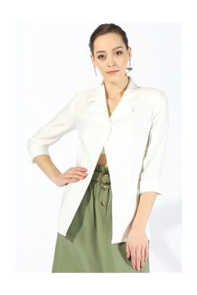 Twister Jeans Kadın Beyaz Cepli Ceket 55228