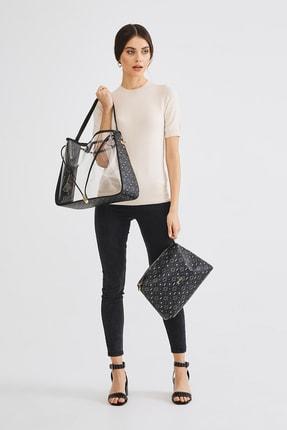 Deri Company Kadın  Siyah Gri Transparan Çanta 4022sg  - Siyah - Std