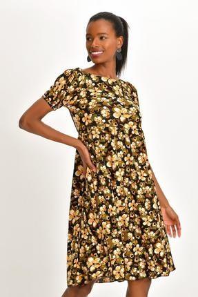 Quincey Kadın Desenli Krep Elbise