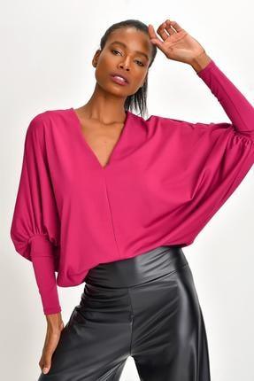 Quincey Kadın Geniş Kesim Krep Bluz