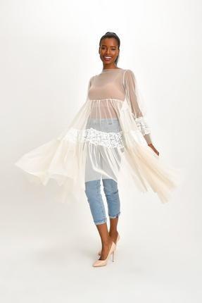 Quincey Kadın Ekru Dantelli Tül Tunik Elbise