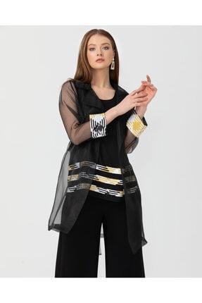 Seçil Kadın Şeritli Iç Bluzlü Tül Tunik