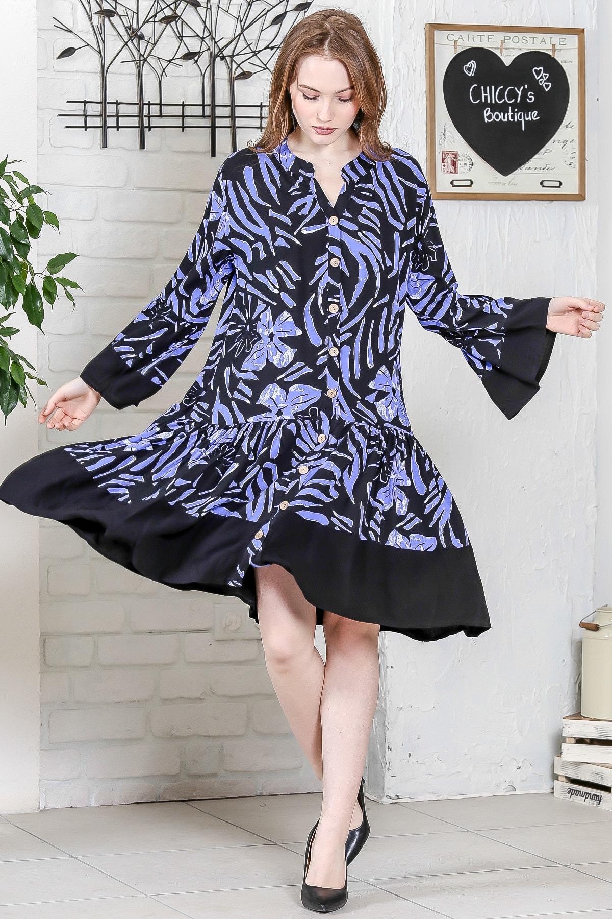 Chiccy Kadın Siyah-Mavi Sıfır Yaka Düğme Detaylı Kol Volanlı Siyah Bloklu Salaş Elbise M10160000EL95234