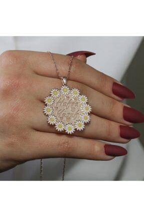 SilverPlus Kadın Çift Isimli Gümüş  Papatya Kolye