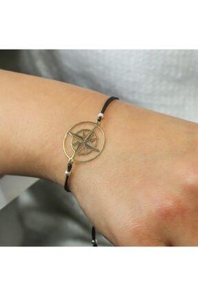 SilverPlus Kadın Altın Kutup Yıldızı Renk Gümüş Örme Bileklik