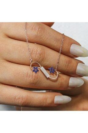 SilverPlus Kadın Rose Yıldız Motifli Gümüş Kolye