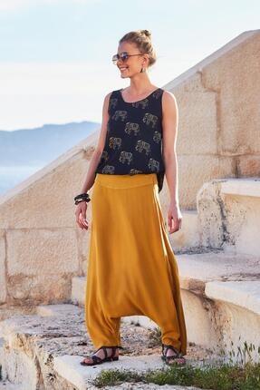 Los Banditos Kadın Sarı Bohem Tarz Fermuarlı Kadın Şalvar Pantolon