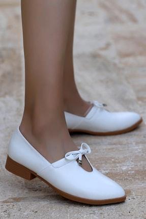 Ayakland Kadın Beyaz Günlük Babet Ayakkabı