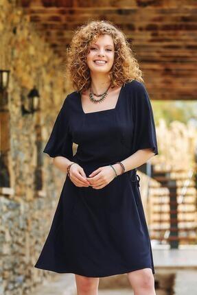 Los Banditos Kadın Siyah Yandan Bağlamalı Kare Yaka Elbise