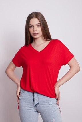 Jument Kadın V Yaka Kısa Kol Likralı Penye Kumaş Yırtmaçlı Oversize Tshirt-kırmızı