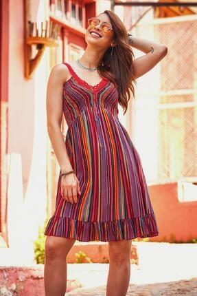 Los Banditos Kadın Kırmızı Dantel Yaka Askılı Yazlık Elbise