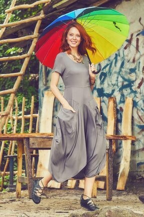 Los Banditos Kadın Vizon Bohem Tarz Cepli Yarım Kollu Uzun Elbise
