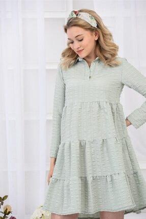 İroni Mint Rengi Elbise