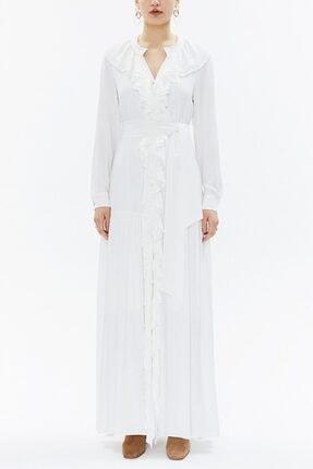 Societa Fırfırlı Kuşaklı Uzun Elbise 93262