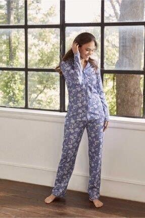 Eros Esk27630 Kadın Pamuklu Çiçek Desen Gömlek Düğme Uk. Pijama Takım 21k