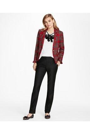 Brooks Brothers Kadın Kırmızı Tartan Kısa Ceket