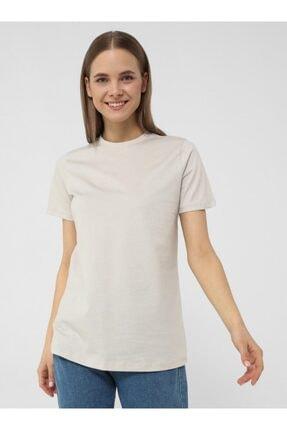 Refka Kadın Açık Gri Doğal Kumaşlı Kısa Kollu Basic T-Shirt