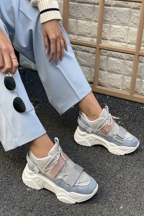 İnan Ayakkabı Kadın Gri Cırtlı Sneakers