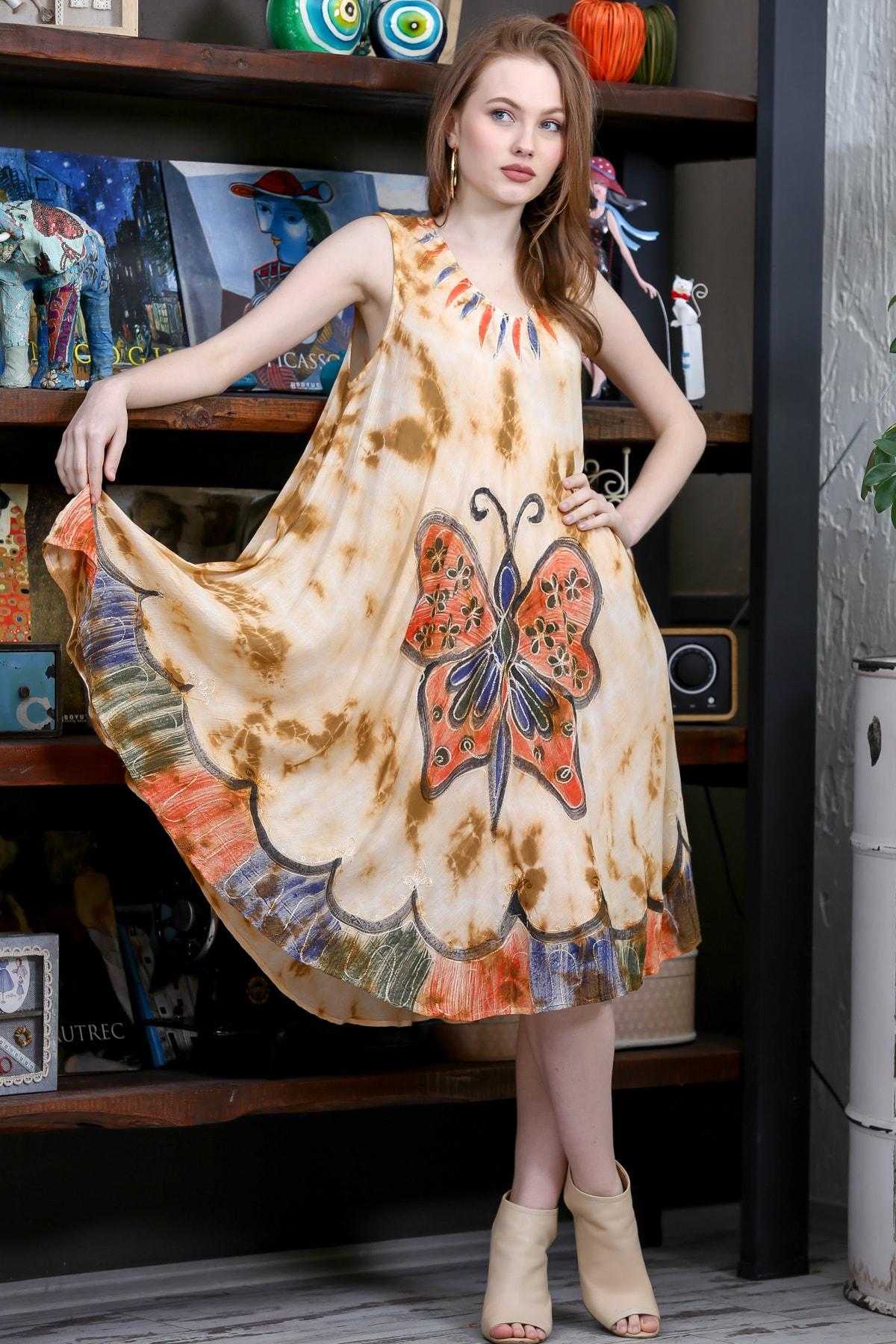 Chiccy Kadın Bej Batik Dev Kelebek Desenli Salaş Dokuma Elbise M10160000EL95127