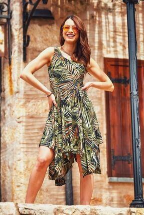 Los Banditos Kadın Bohem Tarz Kayık Yaka Asimetrik Elbise