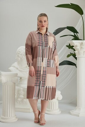 Rmg Kadın Vizon Geometrik Desenli Büyük Beden Elbise