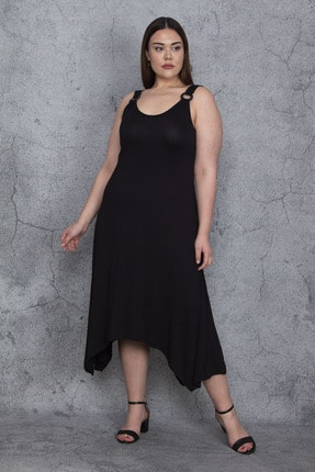 Şans Kadın Siyah Omuz Halka Askılı Asimetrik Elbise 65N23777
