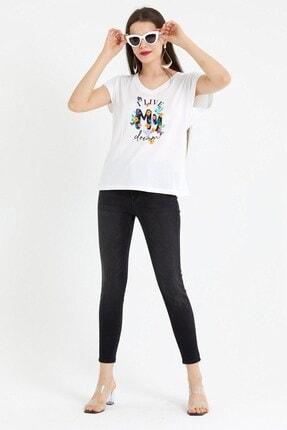 VENA Kadın Beyaz My Dream Baskılı T-shirt