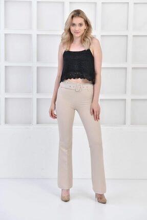 İroni Kemerli Ispanyol Paça Taş Pantolon