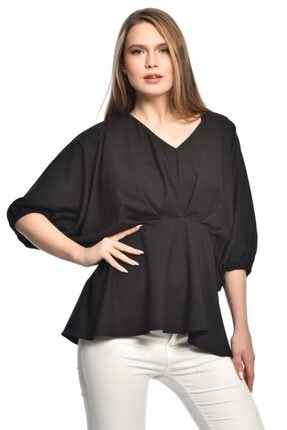 İroni Kadın Büzgülü Krep Siyah Bluz