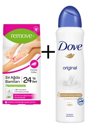 Dove Original 150 ml  Kadın Deodorant Sprey + Remove Hassas Sir Ağda Bandı 24 Adet