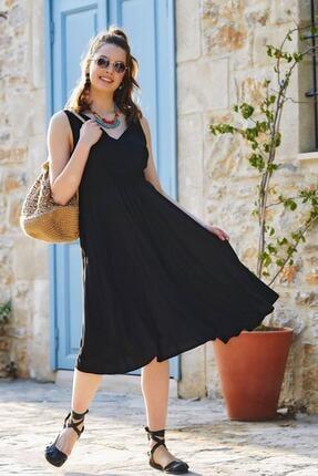 Los Banditos Kadın Siyah Salaş Yazlık V Yakalı Elbise
