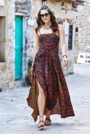 Los Banditos Kadın kahverengi Askılı Belden Bağlamalı Desenli Elbise