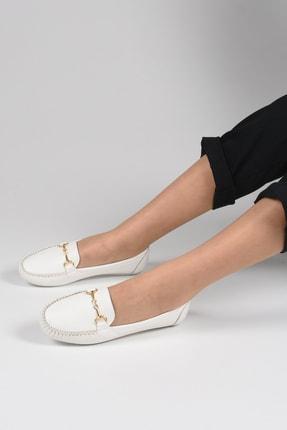 Sapin Kadın Beyaz Tokalı Babet 23305