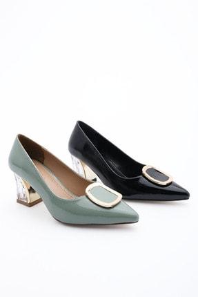 Marjin Kadın Klasik Topuklu Ayakkabı Kavizlayeşil Rugan