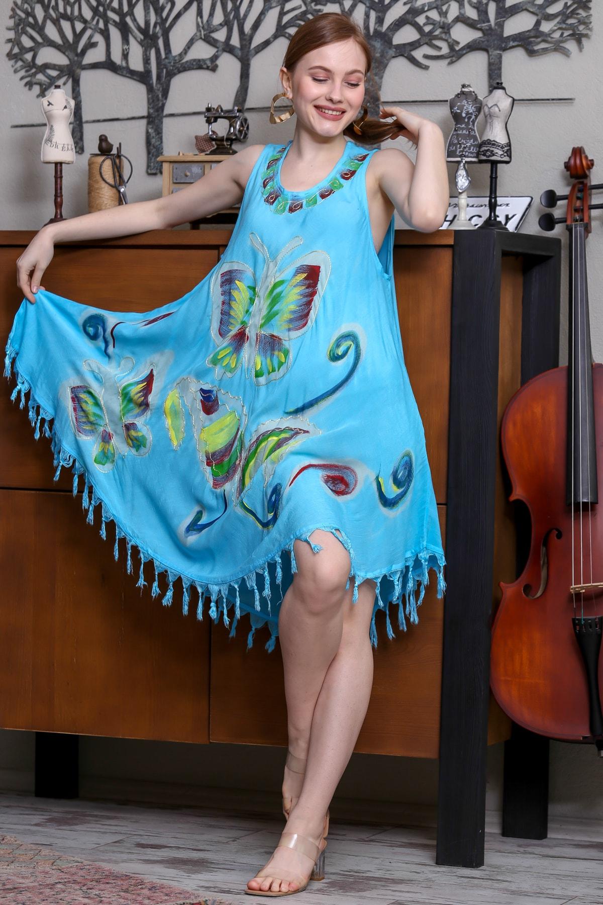 Chiccy Kadın Mavi Batik Kelebek Desenli Salaş Dokuma Etek Ucu Saçaklı Elbise M10160000EL95142