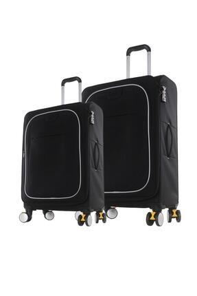 ITLUGGAGE Büyük Ve Kabin Boy Valiz Seti Kilitli Tekerlekli Valiz Siyah 2228