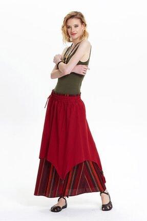 Los Banditos Kadın Kırmızı Boncuk Detaylı Bağcıklı Uzun Etek