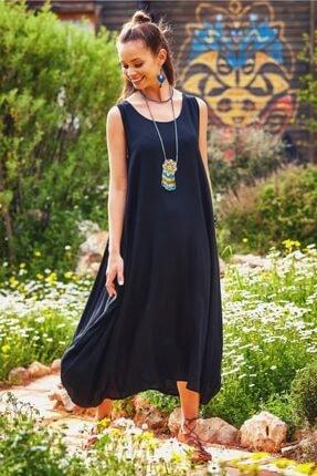Los Banditos Kadın Kayık Yaka Düğme Detaylı Cepli  Elbise