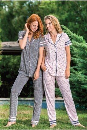 Yeni İnci Kadın Siyah Önden Düğmeli Pijama Takım