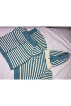 Nako Unisex Bebek Mavi İkili Yelek Hırka Set