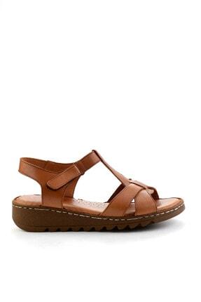 Bambi Hakiki Deri Taba Kadın Sandalet K05907000203