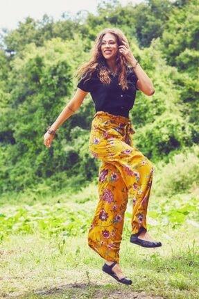 Los Banditos Kadın Sarı Çiçek Desenli Bol Paça Pantolon
