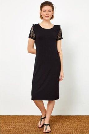 İkiler Kadın Siyah Kolları Dantelli Yuvarlak Yaka Elbise 021-2509