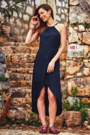Los Banditos Kadın Siyah Önü Kısa Arkası Uzun Anvelop Elbise